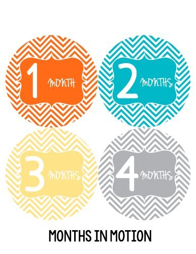 Months in Motion 126 Monthly Baby Stickers Milestone Age Sticker Photo Prop - 1