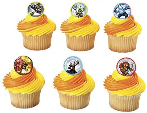 (12) Skylanders Trap Team Cupcake Topper rings- goody bag, loot, birthday favor