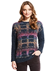 Indigo Collection Checked Bouclé Jumper