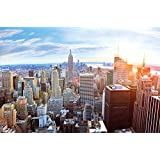 New York Penthouse Skyline Fototapete - Manhattan Ausblick Wandbild - XXL Poster New York Wanddeko 210 x 140 cm