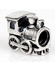 Train Engine Travel Charm Antique 925 Sterling Silver Bead For European Bracelet Jewelry