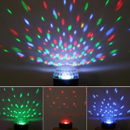 Kkmoon Voice-Activated Led Rgb Crystal Magic Ball Effect Light Disco Dj Stage Lighting Us Plug For Home Party/ Bar/ Club/ Holiday/ Show/ Karaoke/ Christmas