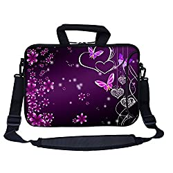 Meffort Inc 13 13.3 inch Neoprene Laptop Bag Sleeve with Extra Side Pocket Soft Carrying Handle & Removable Shoulder Strap for 12 to 13.3 Size Notebook Computer - Pink Flower Butterfly Design