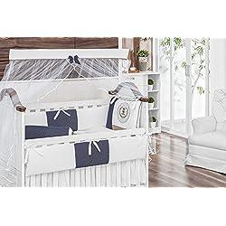 Royal Bear Themed Navy Blue Baby Boy 10 Pcs Nursery Crib Bedding Set Embroidered