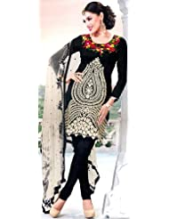 Exotic India Black Choodidaar Kameez Suit With Embroidered Flowers In Iv - Black