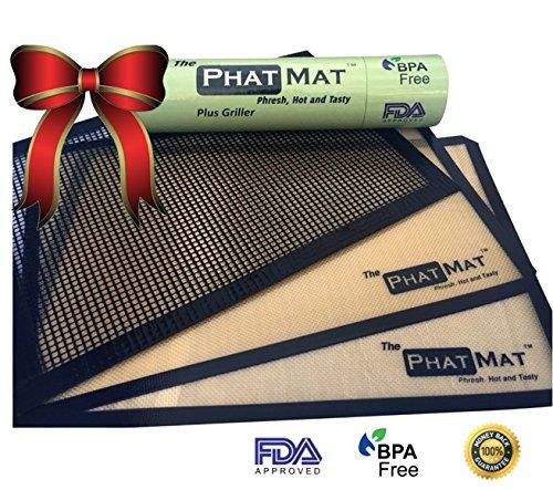 The PhatMat Premium Silicone Baking Mat for Healthy Cooking from The PhatMat Half Sheet Mat, BONUS Grill Mesh COMBO