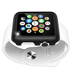 Apple Watch 42mm Case, Maxboost Premium Protective Apple Watch Case for Apple Watch / Sport Edition 42mm [Black] Stylish TPU Snap Frame Accessories Rugged Hard Cover bumper from Scratches and Impacts from Maxboost