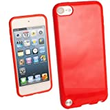IGadgitz Red Glossy Durable Crystal Gel Skin (TPU) Case Cover for Apple iPod Touch 5th Generation 5G 32GB 64GB + Screen Protector