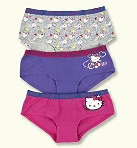 3 Pack- Older Girl&#39;s Cotton Blend Hello Kitty Assorted Boxers