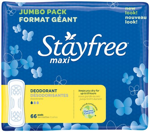 Stayfree Maxi Pads, Deodorant, 66 Count