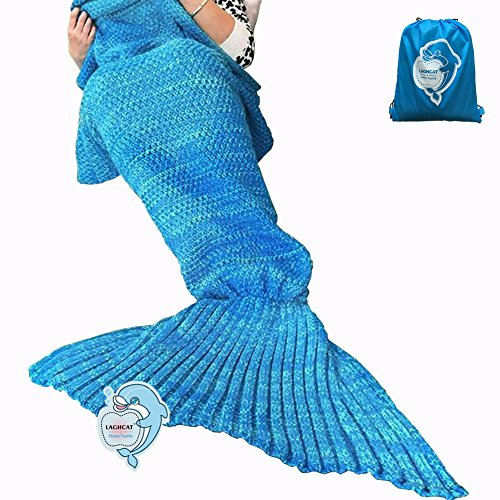 LAGHCAT Mermaid Tail Blanket Crochet and Mermaid Blanket for adult, Super Soft All Seasons Sleeping Blankets, 71