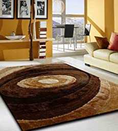 Brown Swirl Design Shaggy Luxurious Area Rug Hand Tufted , High Quality ~ 5 x 7 hand made ON SALE!