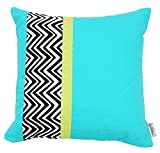 Folkloric Cotton, Chevron, Decorative, Pillow or Cushion Cover, 16x16 inches, Turquoise Blue