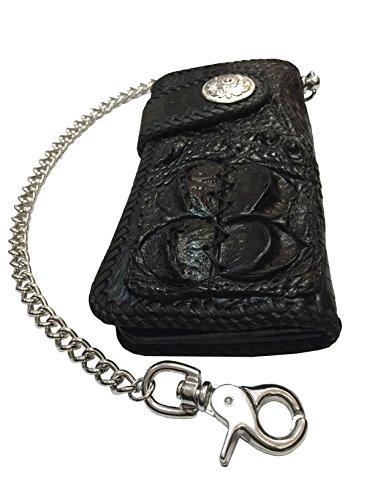 D'SHARK Luxury Biker Crocodile Skin Leather Bi-fold Snap Wallet (Black) 2