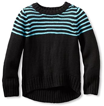 Energie Big Girls' Violet High Low Sweater, Black/Blue, Small