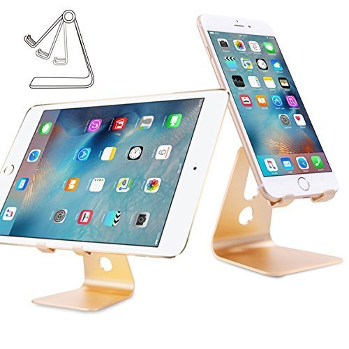 Supporto iPad, Nulaxy Universal Multi-Angolo Portatile Durevole in Alluminio Stand Supporto di Tablet per iPhone 7/6s/6/5/4,Tablet PC di 4-10 Pollici Serie iPad, ebook-Reader, Samsung Galaxy Tab-Gold