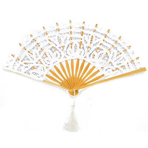 Victorian style Romantic Lace Wooden Folding Fan (White)
