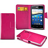 ONX3 (Hot Pink) Acer Liquid Z5 Super Thin Faux Leather Wallet Flip Suction Pad Skin Case Cover With Credit / Debit Cards Slot