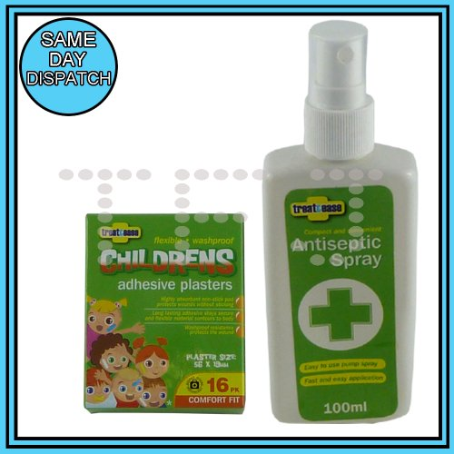 NEW KIDS ADHESIVE PLASTER AND ANTISEPTIC SPRAY KIT - PLASTER SIZE : 56 X 19MM - IDEAL FOR CAMPING, TRAVELLING,PICNIC AND TRIPS
