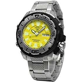Seiko Wrist Watches-Seiko SKZ251K1 Men's Automatic Mechanical Self-Winding Dive Watch Yellow Dial