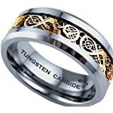 Mens Ring-Gold Celtic Dragon Inlay TUNGSTEN Carbide Comfort Fit Wedding Engagement Jewelry Band Ring