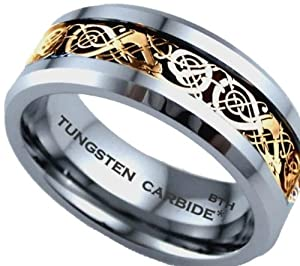 Mens Ring - Gold Celtic Dragon Inlay TUNGSTEN Carbide Comfort Fit Wedding Engagement Jewelry Band Ring Size X ( Available in Most Sizes )