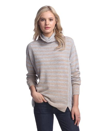Qi Women's Emerald Funnel Neck Cashmere Sweater  [Silver Mouline/Natural]
