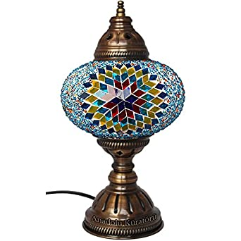 Table Lamp Mosaic Lamps Multicolor Peacock Glass Moroccan Lanterns Turkis