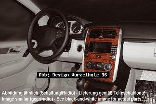 """Prewoodec Cockpit Dekor in Wurzelholzoptik (21065/96) für Mercedes B-Klasse 245 ab 06.2008, Klimaanlage / Klimaautomatik, Radio-CD Navigationssystem """"Audio 20 und Audio 50 APS"""", Schaltkonsole manuell / automatik, 7 Teile, Armaturenbrett/ Mittelkonsole """"MADE in GERMANY"""" - im Set sind immer alle auf der schwarz weißen Teileschablone abgebildeten Teile enthalten!"""