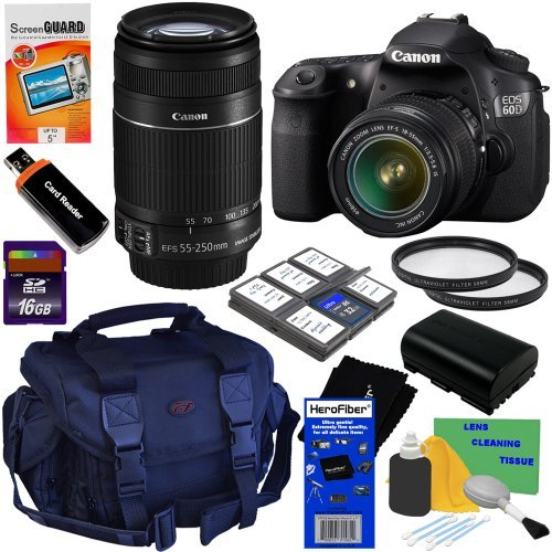 Canon EOS 60D 18 MP CMOS Digital SLR Camera with EF-S 18-55mm f/3.5-5.6 IS II Zoom Lens + Canon EF-S 55-250mm f/4.0-5.6 IS II Telephoto Zoom Lens + 10pc Bundle 16GB Accessory Kit w/ HeroFiber® Ultra Gentle Cleaning Cloth