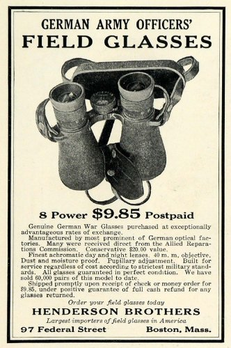 1925 Ad Henderson Brothers Filed Glasses German Army Officers Binoculars Lenses - Original Print Ad