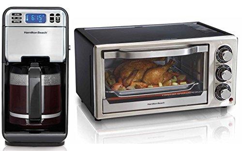 Hamilton Beach 46201 12-Cup Digital Coffeemaker Brewer & Toaster Oven Bundle
