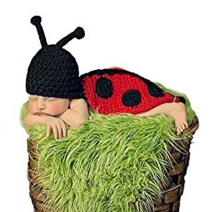 Askformore Baby Photography Prop Beetle Crochet Knitted Costume Set Girl Boy