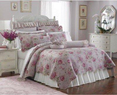 Lenox Blush Lilac Vintage Floral Roses 9Piece King Quilt Coverlet Set