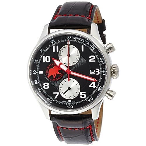 [ハンティングワールド]Huntingworld 腕時計 クロノマジックⅡ ブラック文字盤 黒革 クォーツ メンズ HW021BK メンズ 【正規輸入品】