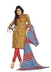 Khushbu Textile Women's Cotton Unstitched Salwar Suit (9014_Multicolor_Free Size)