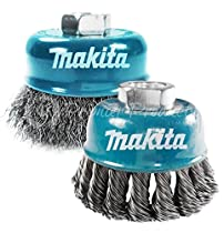 Makita 2 Piece - Knotted & Crimped Wire Cup Bundle For Grinders - Heavy & Light-Duty Conditioning For Metal - 3 Inch x 5/8-Inch | 11 UNC