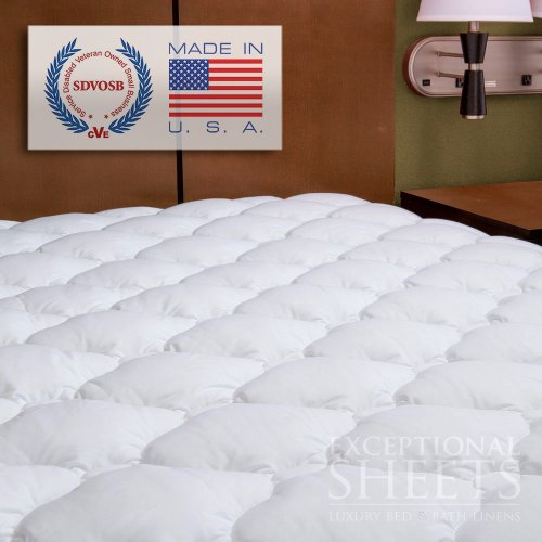 Extra Plush Double Thick Fitted Mattress Topper, King
