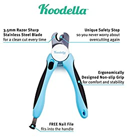 Koodella Dog Nail Clippers With Quick Sensor. Best Professional Dog Nail Trimmer For Large, Medium, and Small Dogs.