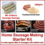 British Home Sausage making starter kit consisting of Yeastless Rusk, 21mm Sausage Skins, 3 Seasonings and full recipe instructions. Ideal for the beginner with their own manual or electric mincer with a sausage stuffer attachment.