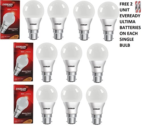 3W Cool Day Light 300 Lumens LED Bulb (Pack of 10)