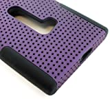 myLife (TM) Deep Plum Purple and Dark Raven Black Perforated Mesh Series (2 Layer Neo Hybrid) Slim Armor Case for the Nokia Lumia 920 920.2 920T and 920 4G Camera Smartphone by Microsoft (External Rubberized Hard Shell Mesh Piece + Internal Soft Silicone Flexible Gel)