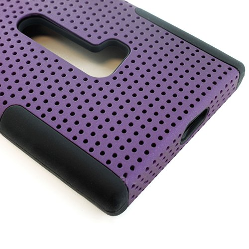 Mylife (Tm) Deep Plum Purple And Dark Raven Black Perforated Mesh Series (2 Layer Neo Hybrid) Slim Armor Case For The Nokia Lumia 920, 920.2, 920T And 920 4G Camera Smartphone By Microsoft (External Rubberized Hard Shell Mesh Piece + Internal Soft Silicon
