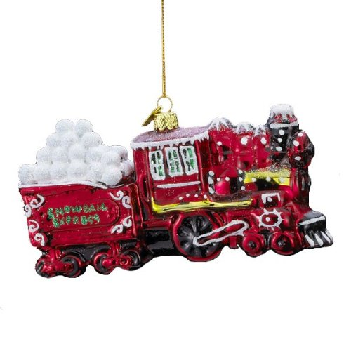 Noble Gems Snowball Express Red Train Glass Blown