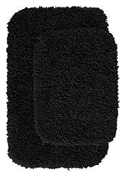 Garland Rug 2-Piece Serendipity Shaggy Washable Nylon Bathroom Rug Set, Black