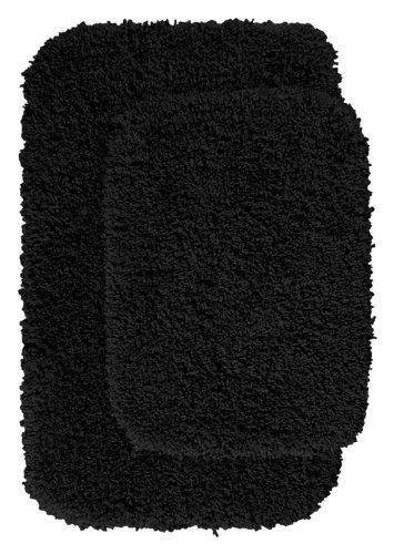 Garland Rug 2-Piece Serendipity Shaggy Washable Nylon Bathroom Rug Set, Black front-1073332
