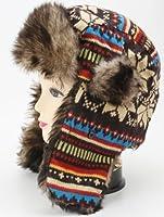 ニット フェイクファー 耳まで隠せる 耳あて付 防寒防風 もこもこ帽子ハットキャップ レディース メンズ ユニセックス ロシア軍 ドイツ軍 パイロット 飛行帽 スキー ブルー&ブラウン