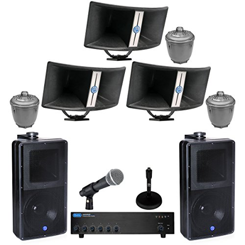 Stadium Sound System 400 Watts, 6 Input Mixer Amplifier, 60 Watt Paging Horns, 8 inch 2 way Speakers, Pure Resonance Microphone (Complete Pa System Package Mixer compare prices)