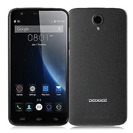 """DOOGEE VALENCIA 2 Y100 Plus 5,5"""" Smartphone Téléphone Portable HD 1280*720 IPS OGS 4G Quad Core Android 5.1 2Go+16Go 8MP MTK6735 64-Bit 1,0 GHz Double carte SIM Double Veille + MEMTEQ Chiffon de Nettoyage et MEMTEQ Stylet -- Noir"""