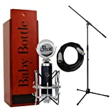 Blue Microphones Baby Bottle with Pop Filter Shockmount Mic Stand and Cable Bundle
